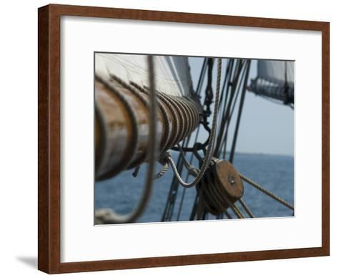 Close Up View of a Mast and Block of a Tall Ship-Todd Gipstein-Framed Art Print