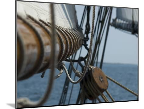 Close Up View of a Mast and Block of a Tall Ship-Todd Gipstein-Mounted Photographic Print