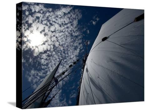 Looking Up the Mast of a Tall Ship to Cumulus Clouds in a Summer Sky-Todd Gipstein-Stretched Canvas Print