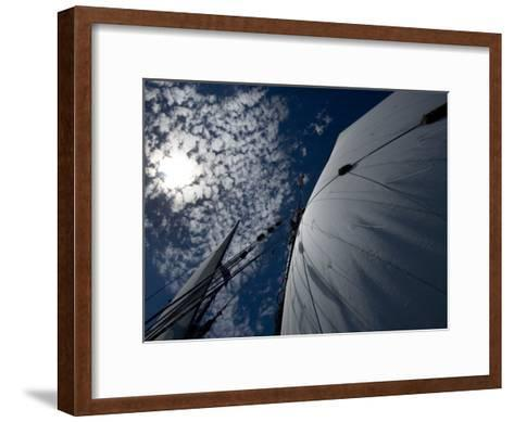 Looking Up the Mast of a Tall Ship to Cumulus Clouds in a Summer Sky-Todd Gipstein-Framed Art Print