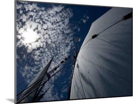 Looking Up the Mast of a Tall Ship to Cumulus Clouds in a Summer Sky-Todd Gipstein-Mounted Photographic Print