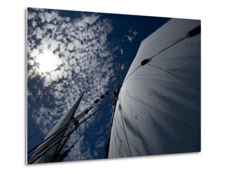 Looking Up the Mast of a Tall Ship to Cumulus Clouds in a Summer Sky-Todd Gipstein-Metal Print
