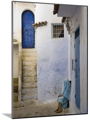 Street Scene in the Famous Blue Town of Chefchaouen-Annie Griffiths Belt-Mounted Photographic Print