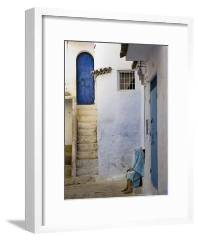 Street Scene in the Famous Blue Town of Chefchaouen-Annie Griffiths Belt-Framed Art Print