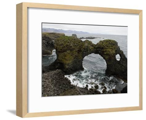 Sea Pounds Volcanic Rock Along the Coast of Iceland-Annie Griffiths Belt-Framed Art Print