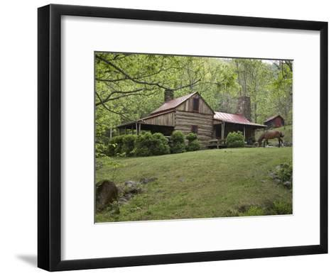 Horse Grazing in the Yard of a Mountain Log Cabin-Greg Dale-Framed Art Print