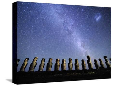 Infamous Moai Statues on Easter Island on a Starry Night-Jim Richardson-Stretched Canvas Print