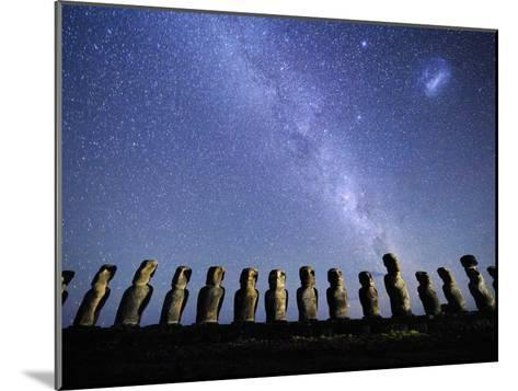 Infamous Moai Statues on Easter Island on a Starry Night-Jim Richardson-Mounted Photographic Print