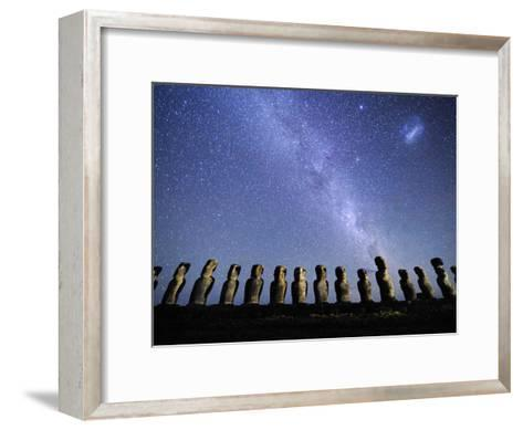 Infamous Moai Statues on Easter Island on a Starry Night-Jim Richardson-Framed Art Print
