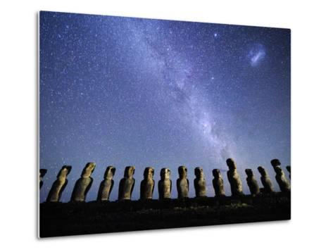 Infamous Moai Statues on Easter Island on a Starry Night-Jim Richardson-Metal Print