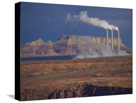 Steam Billows from Chimneys of the Navajo Power Plant-Michael Melford-Stretched Canvas Print