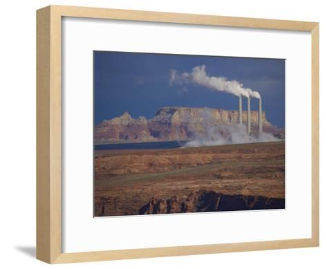 Steam Billows from Chimneys of the Navajo Power Plant-Michael Melford-Framed Art Print