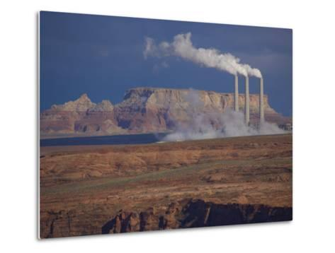 Steam Billows from Chimneys of the Navajo Power Plant-Michael Melford-Metal Print