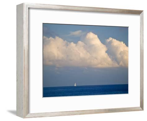 Lone Sailboat Sailing Along the Horizon in France-Michael Melford-Framed Art Print