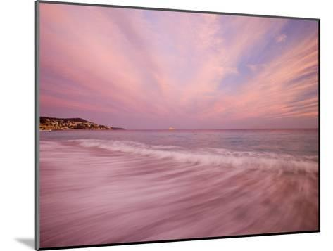 Sunset Creates a Pink Cast over the Surf in the South of France-Michael Melford-Mounted Photographic Print