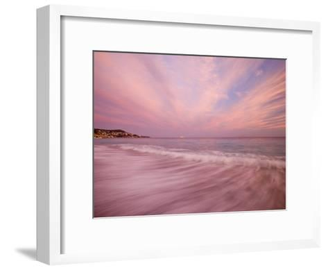 Sunset Creates a Pink Cast over the Surf in the South of France-Michael Melford-Framed Art Print