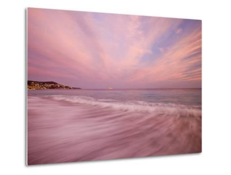 Sunset Creates a Pink Cast over the Surf in the South of France-Michael Melford-Metal Print