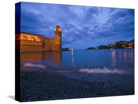 Surf on the Beach Near the Entrance to the Harbor of Collioure-Michael Melford-Stretched Canvas Print