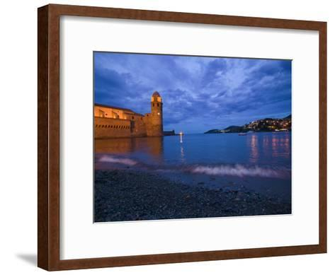 Surf on the Beach Near the Entrance to the Harbor of Collioure-Michael Melford-Framed Art Print
