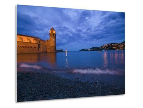 Surf on the Beach Near the Entrance to the Harbor of Collioure-Michael Melford-Metal Print