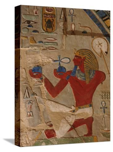 Painted Relief of Thutmosis Iii in the Main Sanctuary of Amun-Re-Kenneth Garrett-Stretched Canvas Print