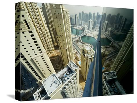 Cityscape of High Rises and Waterways in Downtown Dubai-Mattias Klum-Stretched Canvas Print