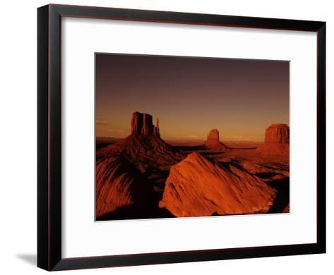 Buttes in Monument Valley at Sunset-Raul Touzon-Framed Art Print