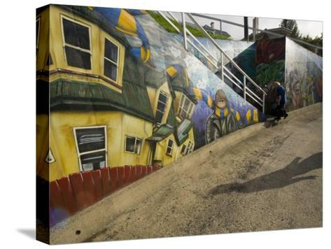 City Sponsored and Approved Graffiti on a Walkway in Residential Area-Bill Hatcher-Stretched Canvas Print