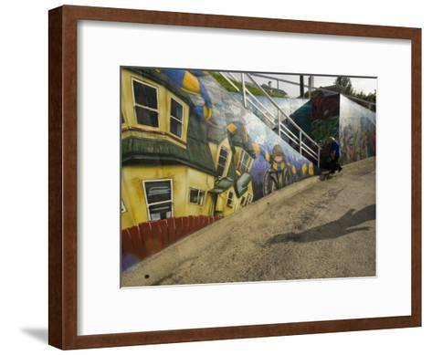 City Sponsored and Approved Graffiti on a Walkway in Residential Area-Bill Hatcher-Framed Art Print