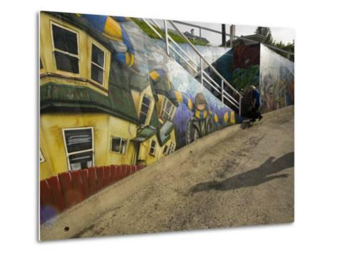 City Sponsored and Approved Graffiti on a Walkway in Residential Area-Bill Hatcher-Metal Print
