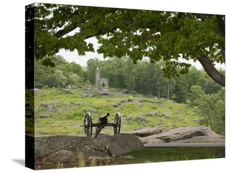Cannon at Gettysburg Battlefield Protects Little Round Top-Greg Dale-Stretched Canvas Print