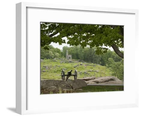 Cannon at Gettysburg Battlefield Protects Little Round Top-Greg Dale-Framed Art Print