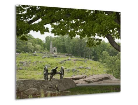 Cannon at Gettysburg Battlefield Protects Little Round Top-Greg Dale-Metal Print