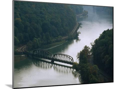 Railroad Bridge over the New River, and Tracks Running Along the Shore-Raymond Gehman-Mounted Photographic Print