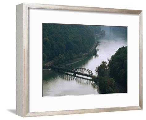 Railroad Bridge over the New River, and Tracks Running Along the Shore-Raymond Gehman-Framed Art Print