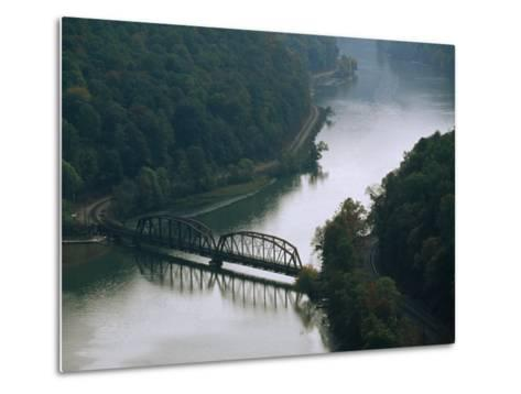 Railroad Bridge over the New River, and Tracks Running Along the Shore-Raymond Gehman-Metal Print