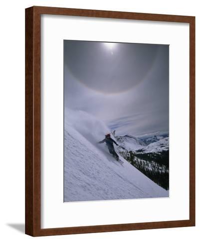 Snowboarding Down a Peak in Yosemite High Country-Bill Hatcher-Framed Art Print