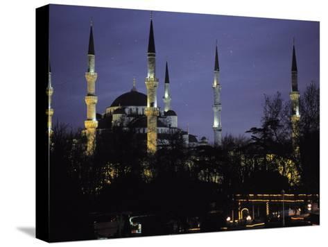 Mosque Lit Up at Dusk in Istanbul, Turkey-Gianluca Colla-Stretched Canvas Print