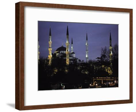 Mosque Lit Up at Dusk in Istanbul, Turkey-Gianluca Colla-Framed Art Print