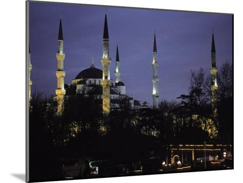 Mosque Lit Up at Dusk in Istanbul, Turkey-Gianluca Colla-Mounted Photographic Print