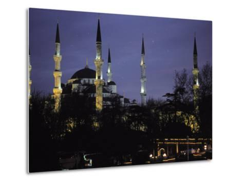 Mosque Lit Up at Dusk in Istanbul, Turkey-Gianluca Colla-Metal Print