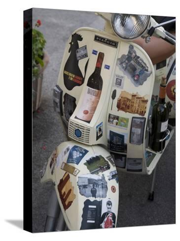 Scooter Covered with Wine Labels and Stickers-Keenpress-Stretched Canvas Print