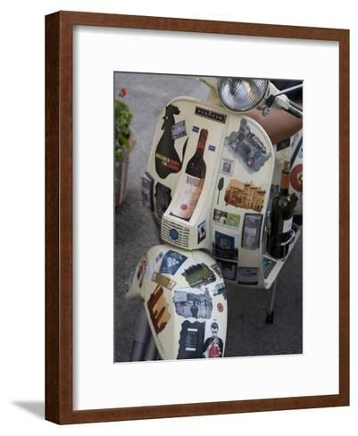 Scooter Covered with Wine Labels and Stickers-Keenpress-Framed Art Print