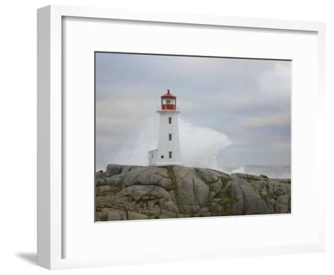 Waves Crashing into the Peggy's Cove Lightouse During Hurricane Noel-Mike Theiss-Framed Art Print