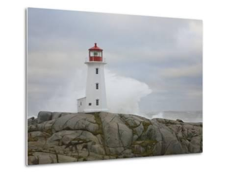 Waves Crashing into the Peggy's Cove Lightouse During Hurricane Noel-Mike Theiss-Metal Print
