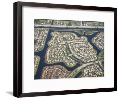 Aerial View of Housing Developments and Communities in Miami, Florida-Mike Theiss-Framed Art Print