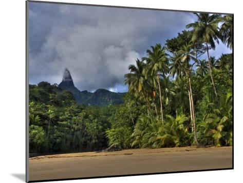 Volcanic Mountains and Palm Trees Along the Beach on Principe Island-Michael Polzia-Mounted Photographic Print