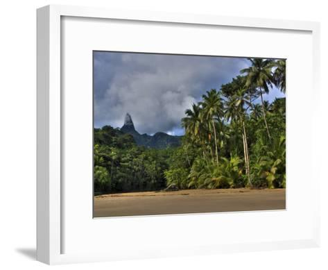 Volcanic Mountains and Palm Trees Along the Beach on Principe Island-Michael Polzia-Framed Art Print