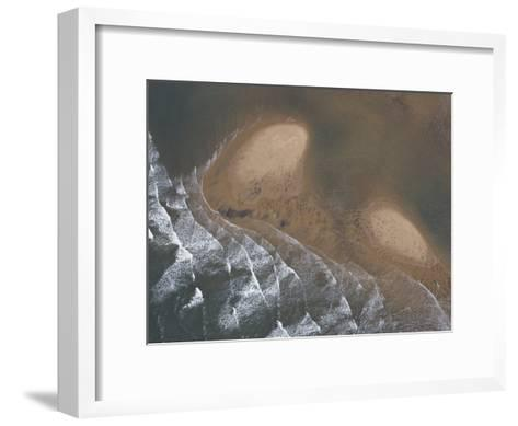 Waves Creating Patterns on a Tidal Beach-Michael Polzia-Framed Art Print