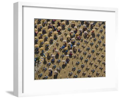Pattern of Beach Umbrellas and Chairs-Michael Polzia-Framed Art Print